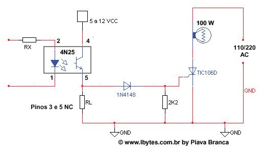 Circuito Com Scr Tic 106 : Esquema eletrônico de acoplador Óptico com scr tic