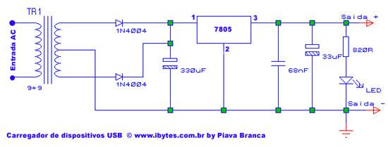 Circuito Usb : Circuito carregador de dispositivos usb muito simples