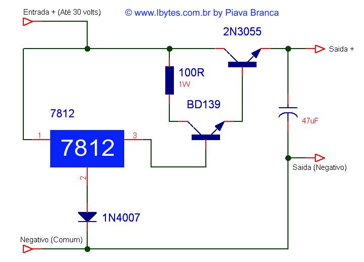 Esquema Eletrônico Para Montar Regulador de 30 Volts Para 12 Volts