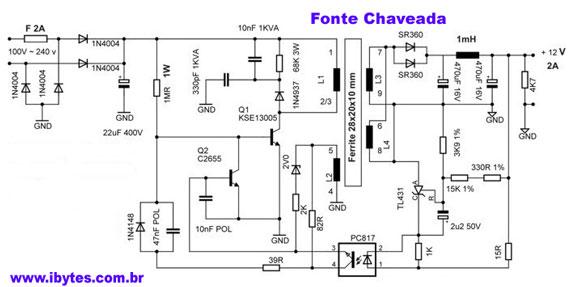 Circuito Eletronico : Esquema eletrônico de fonte chaveada para ampères